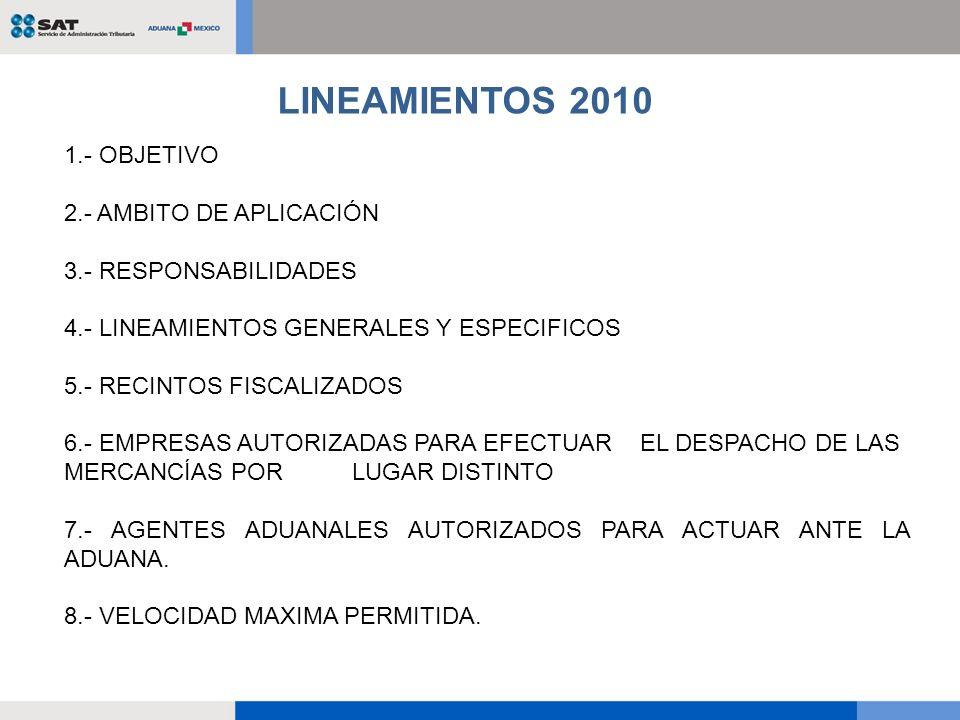 LINEAMIENTOS 2010 1.- OBJETIVO 2.- AMBITO DE APLICACIÓN