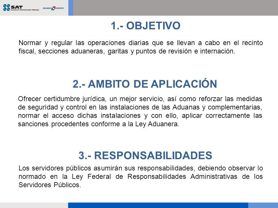 1.- OBJETIVO 2.- AMBITO DE APLICACIÓN 3.- RESPONSABILIDADES