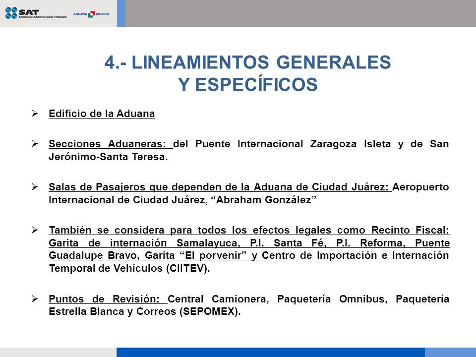 4.- LINEAMIENTOS GENERALES Y ESPECÍFICOS