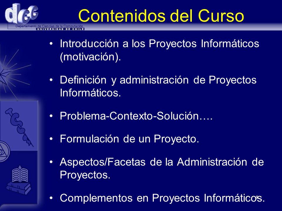 Contenidos del Curso Introducción a los Proyectos Informáticos (motivación). Definición y administración de Proyectos Informáticos.
