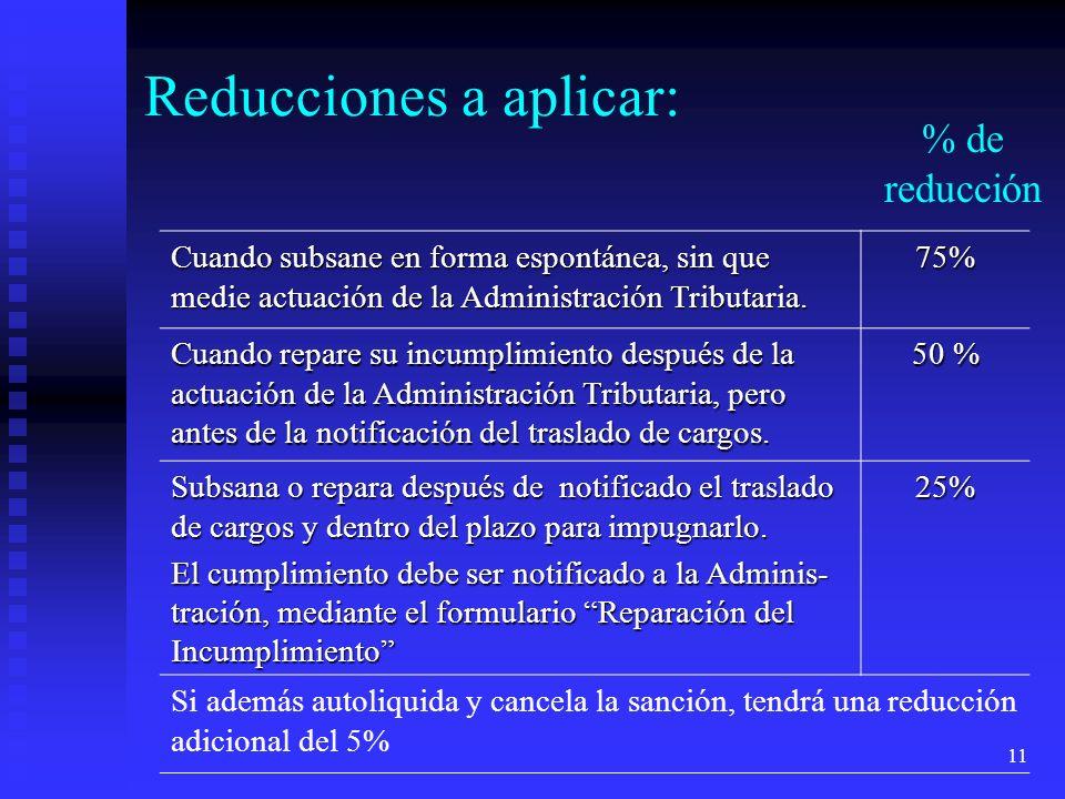 Reducciones a aplicar: