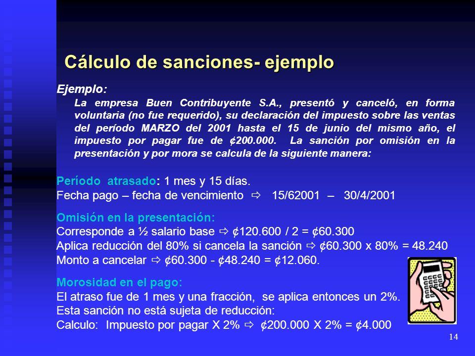 Cálculo de sanciones- ejemplo