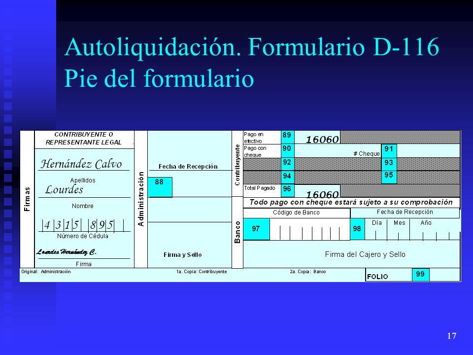 Autoliquidación. Formulario D-116 Pie del formulario