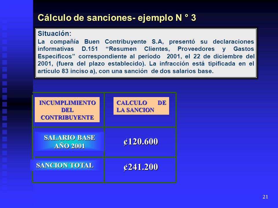 Cálculo de sanciones- ejemplo N ° 3