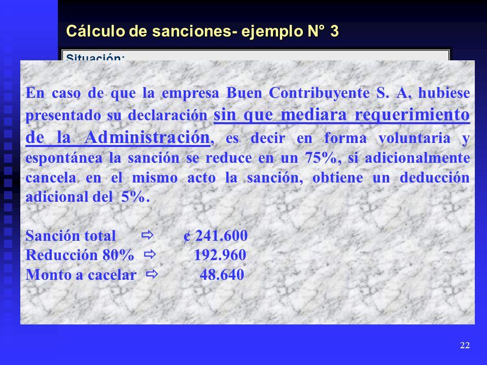 Cálculo de sanciones- ejemplo N° 3