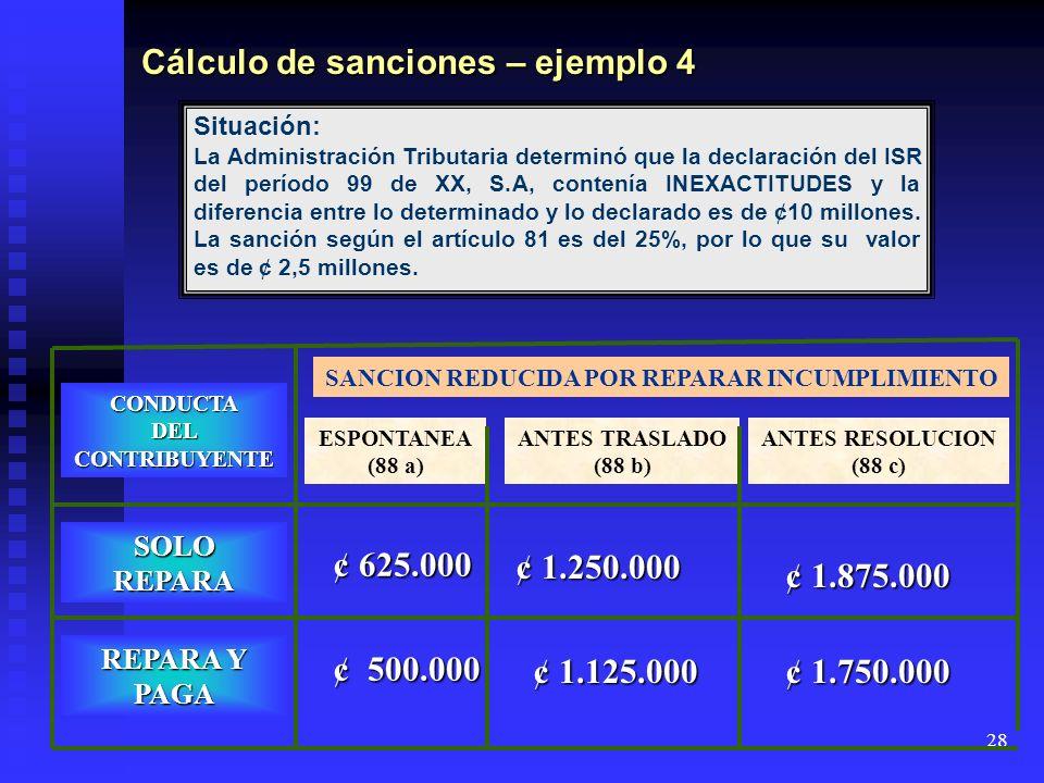Cálculo de sanciones – ejemplo 4