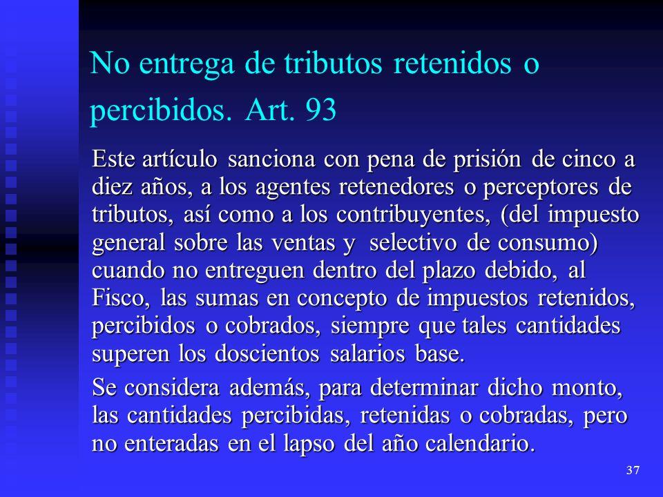 No entrega de tributos retenidos o percibidos. Art. 93