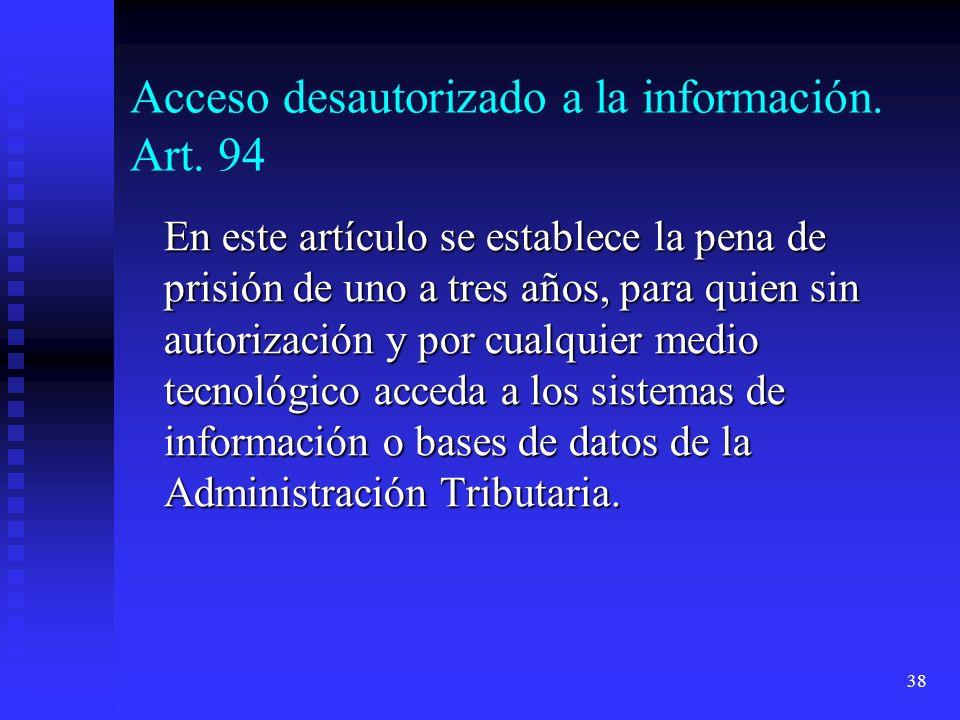 Acceso desautorizado a la información. Art. 94