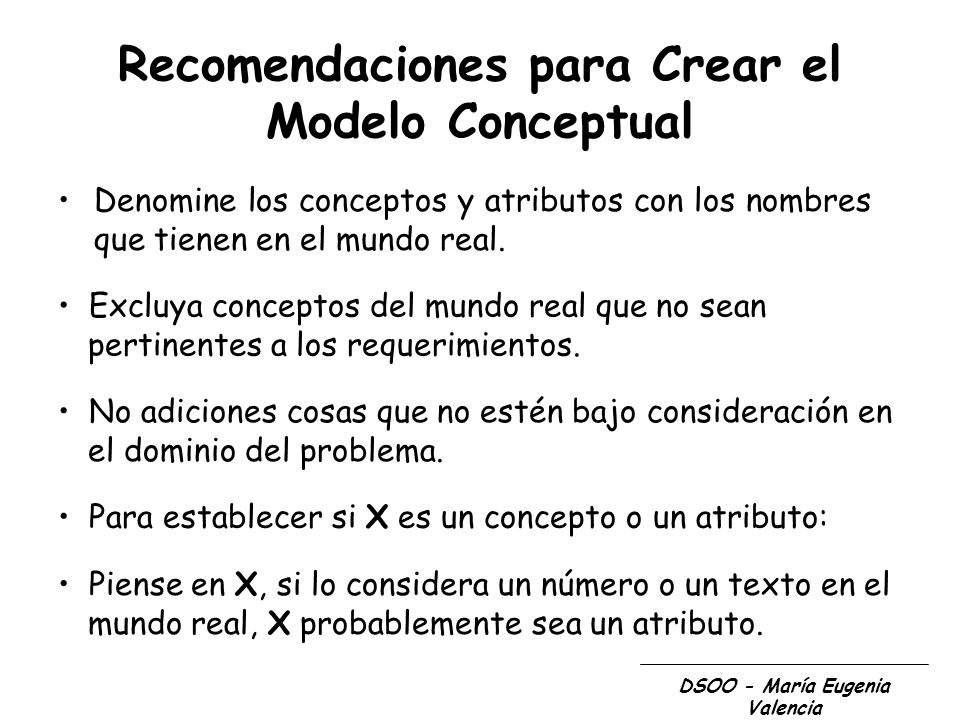 Recomendaciones para Crear el Modelo Conceptual