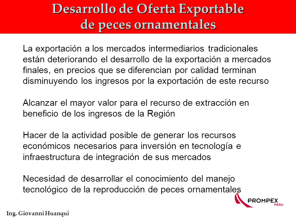 Desarrollo de Oferta Exportable de peces ornamentales