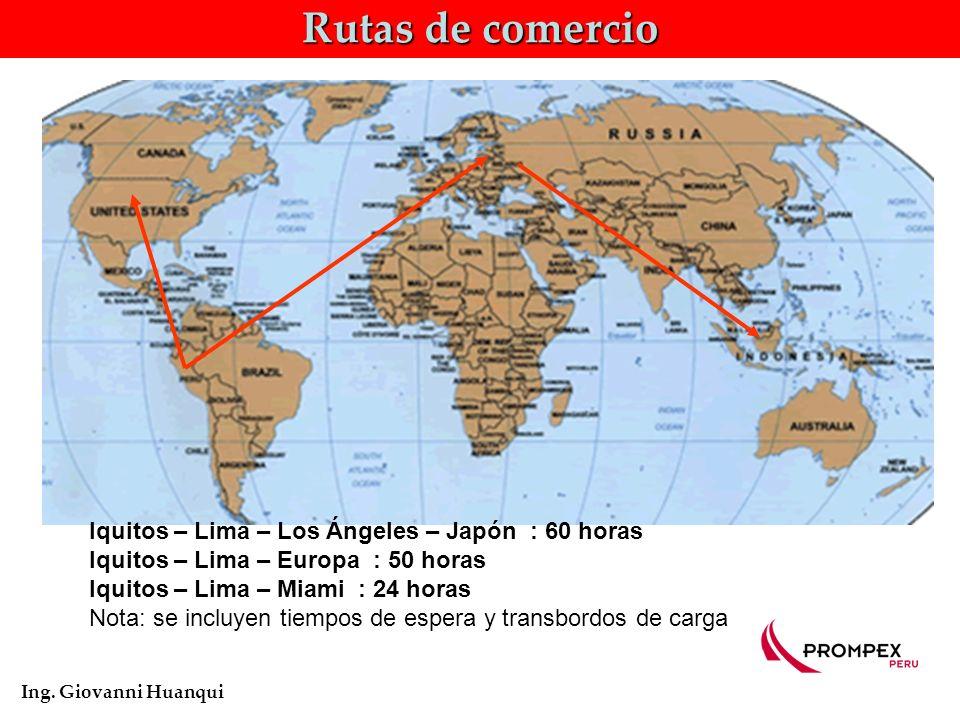 Rutas de comercio Iquitos – Lima – Los Ángeles – Japón : 60 horas