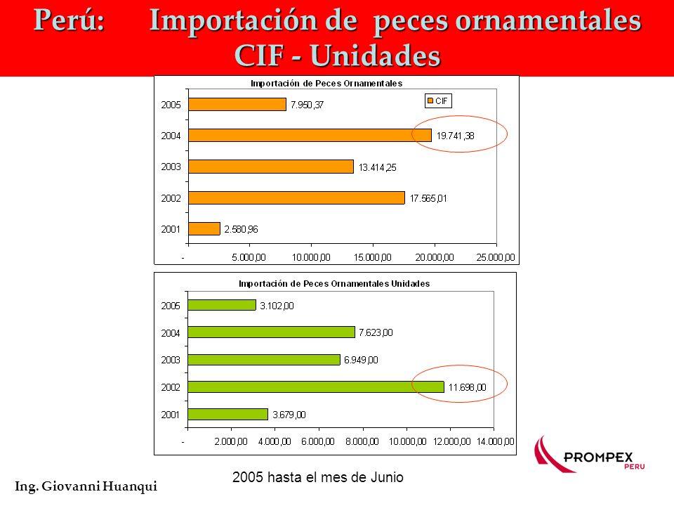 Perú: Importación de peces ornamentales CIF - Unidades