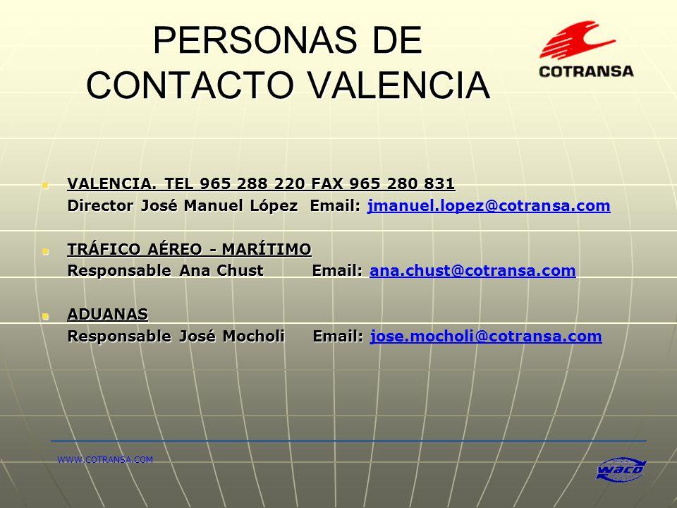 PERSONAS DE CONTACTO VALENCIA
