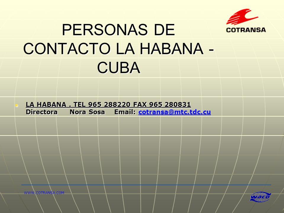 PERSONAS DE CONTACTO LA HABANA - CUBA