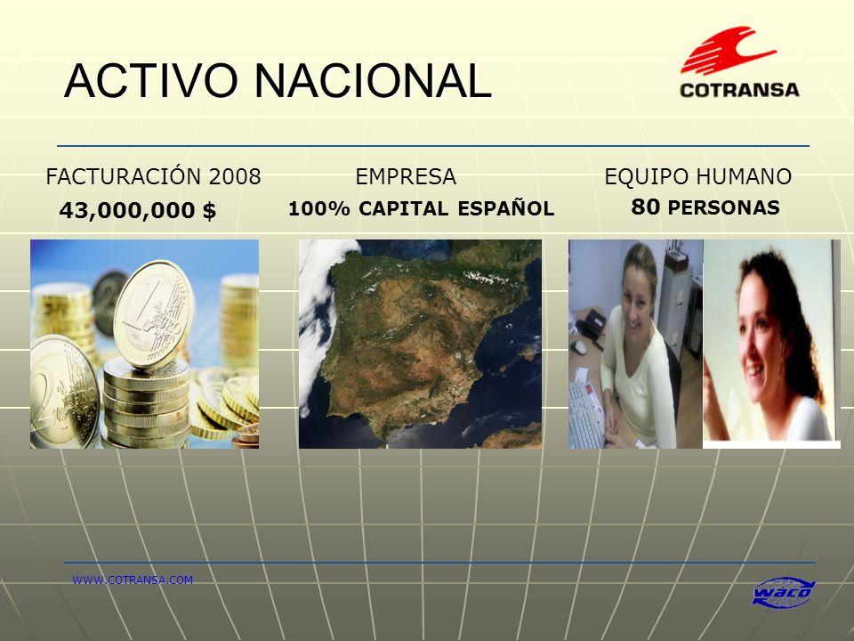 ACTIVO NACIONAL FACTURACIÓN 2008 EMPRESA EQUIPO HUMANO 43,000,000 $