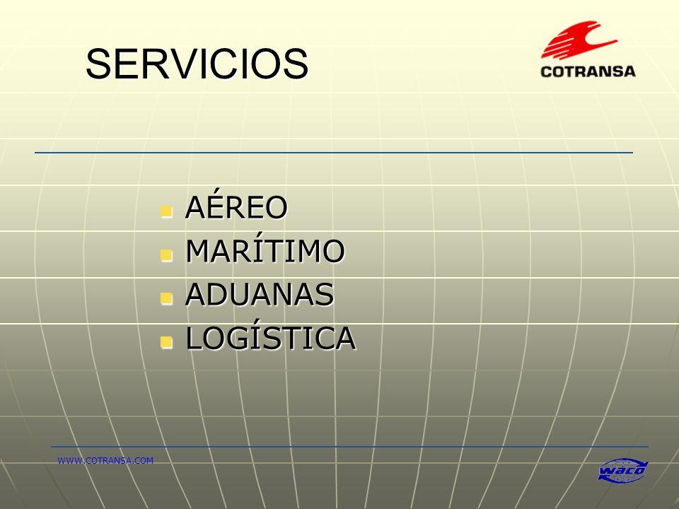 SERVICIOS AÉREO MARÍTIMO ADUANAS LOGÍSTICA WWW.COTRANSA.COM