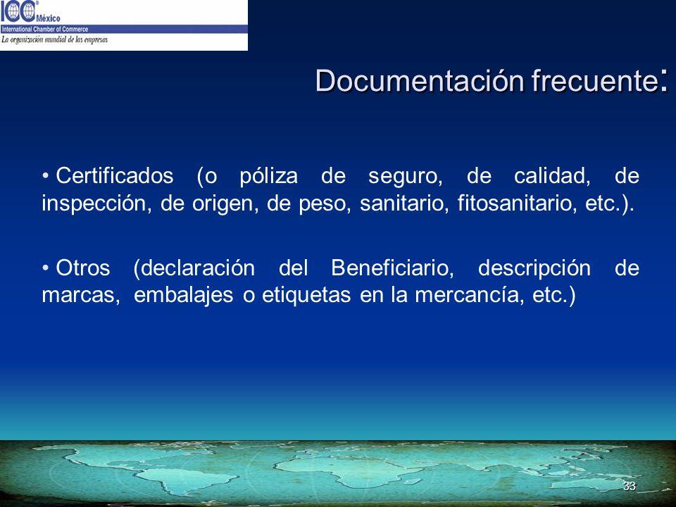 Documentación frecuente: