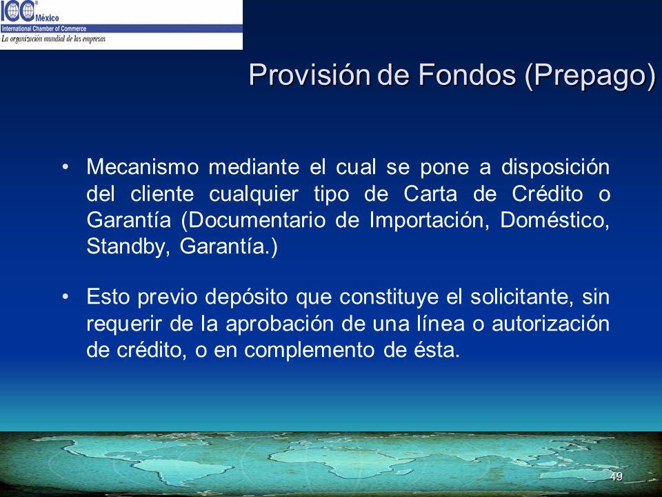 Provisión de Fondos (Prepago)