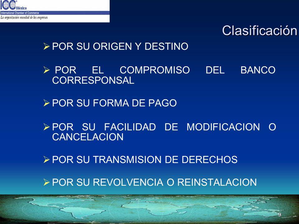Clasificación POR SU ORIGEN Y DESTINO