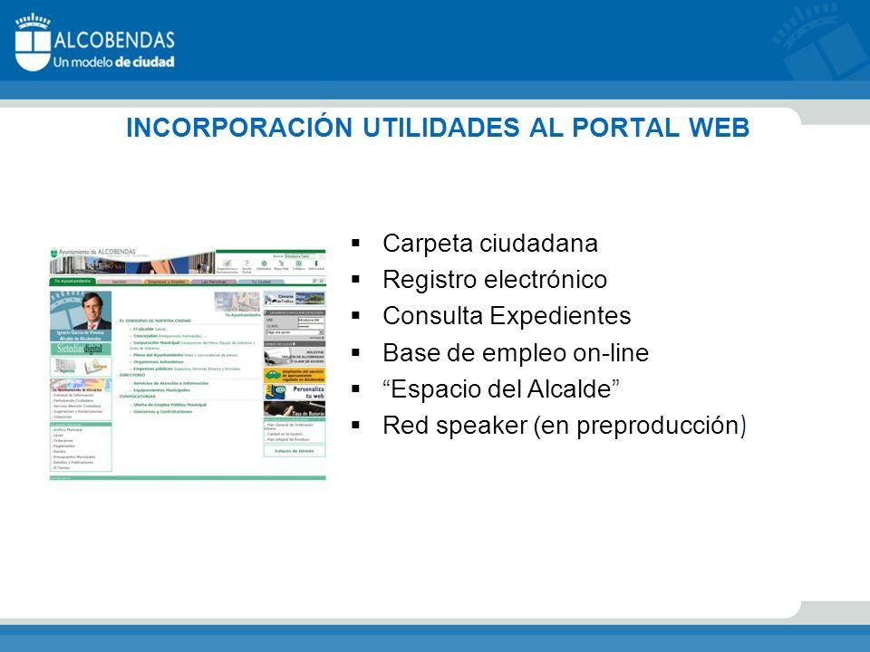 INCORPORACIÓN UTILIDADES AL PORTAL WEB