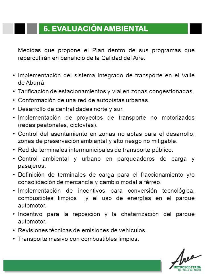 6. EVALUACIÓN AMBIENTAL Medidas que propone el Plan dentro de sus programas que repercutirán en beneficio de la Calidad del Aire:
