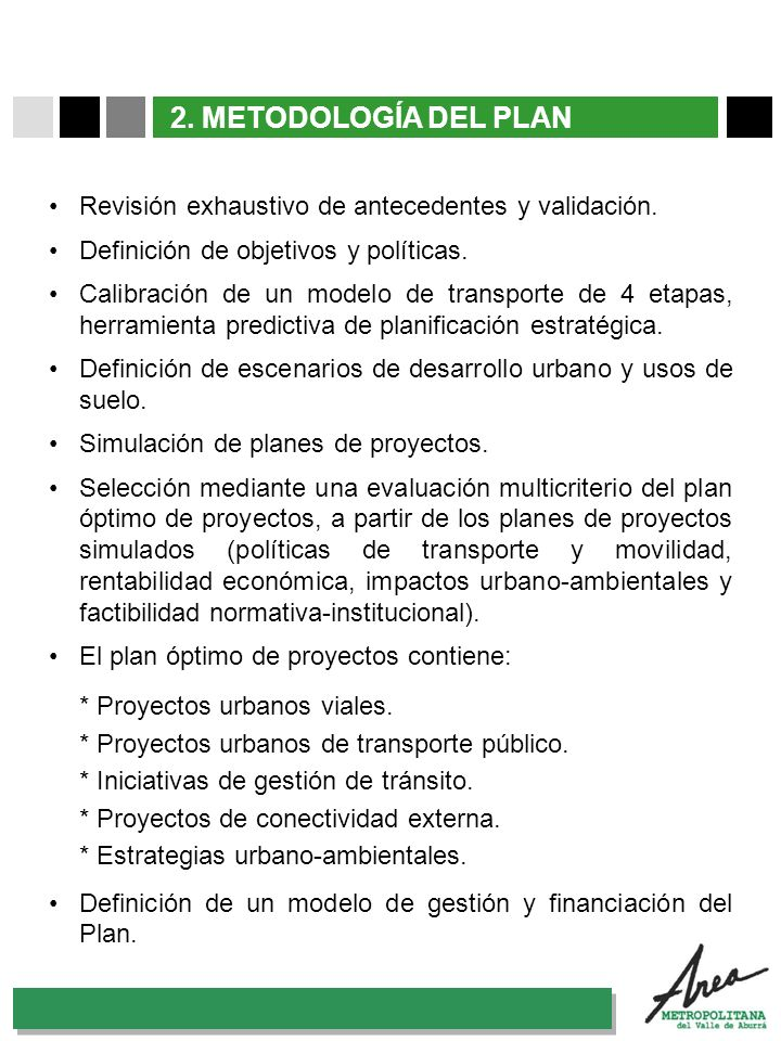 2. METODOLOGÍA DEL PLAN Revisión exhaustivo de antecedentes y validación. Definición de objetivos y políticas.