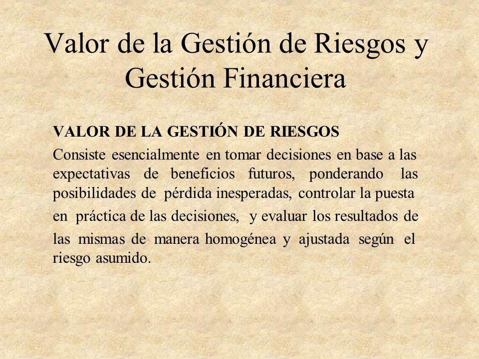 Valor de la Gestión de Riesgos y Gestión Financiera