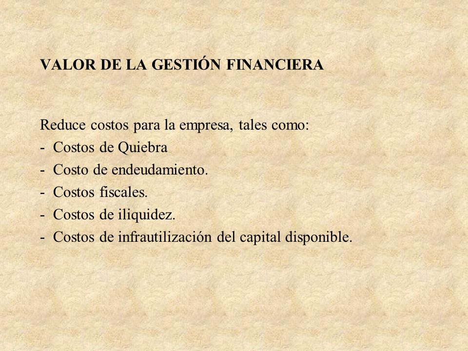 VALOR DE LA GESTIÓN FINANCIERA