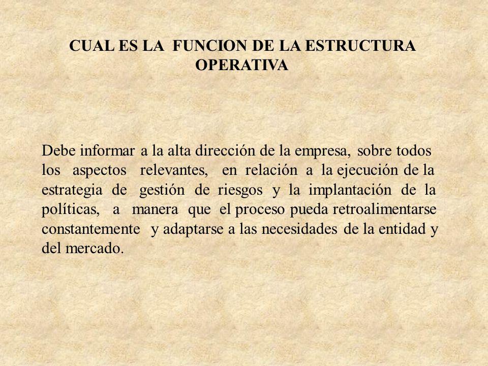 CUAL ES LA FUNCION DE LA ESTRUCTURA OPERATIVA