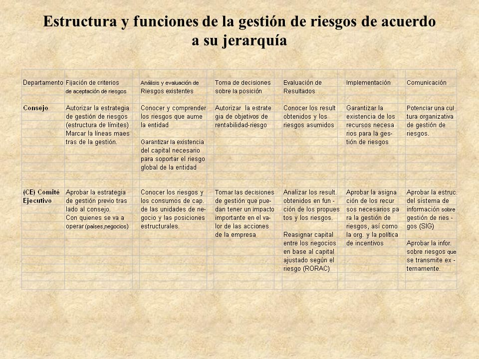 Estructura y funciones de la gestión de riesgos de acuerdo a su jerarquía