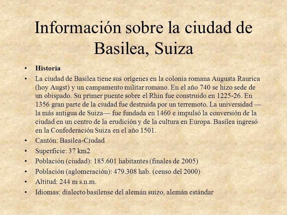 Información sobre la ciudad de Basilea, Suiza