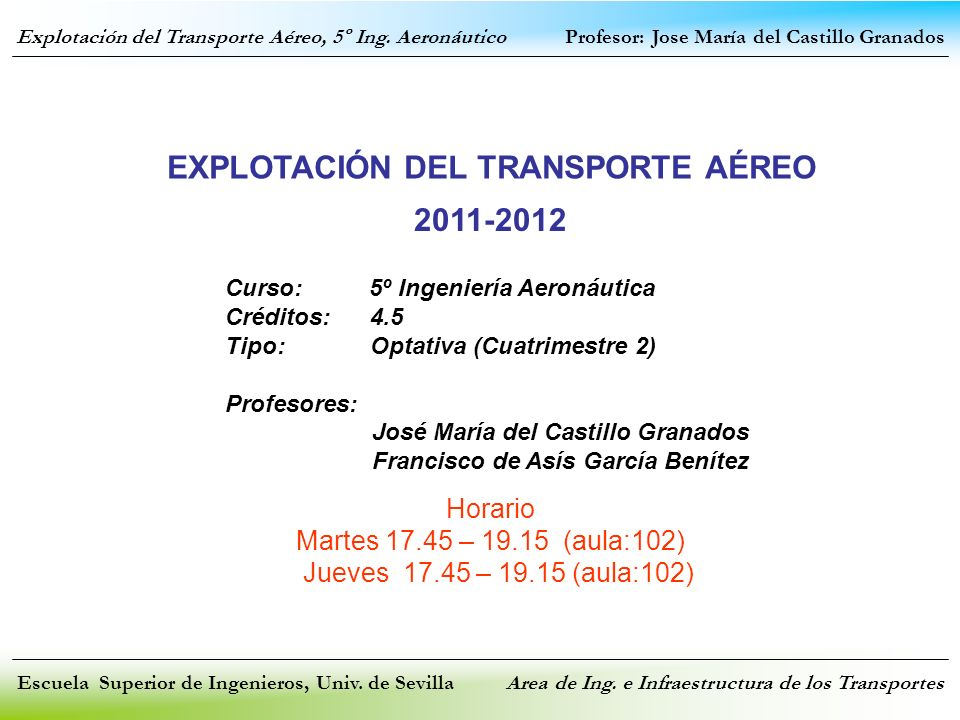 EXPLOTACIÓN DEL TRANSPORTE AÉREO