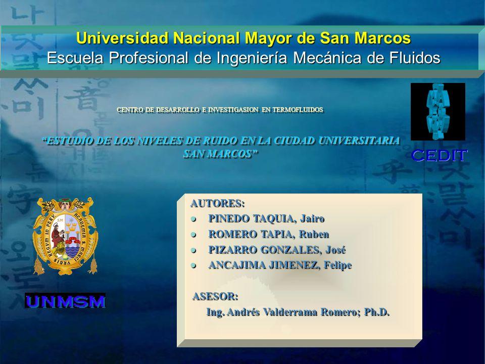 Universidad Nacional Mayor de San Marcos Escuela Profesional de Ingeniería Mecánica de Fluidos