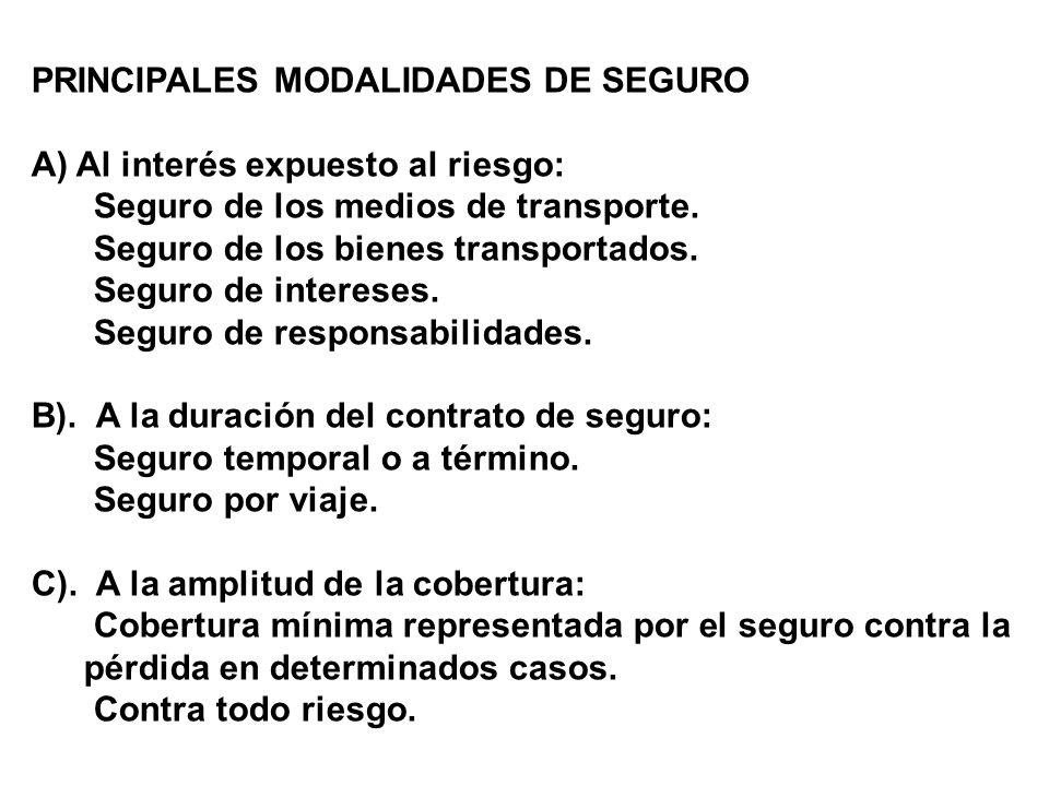 PRINCIPALES MODALIDADES DE SEGURO
