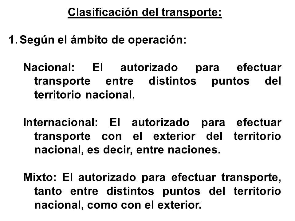 Clasificación del transporte: