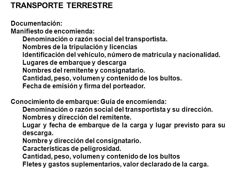 TRANSPORTE TERRESTRE Documentación: Manifiesto de encomienda: