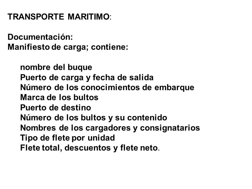 TRANSPORTE MARITIMO: Documentación: Manifiesto de carga; contiene: nombre del buque. Puerto de carga y fecha de salida.