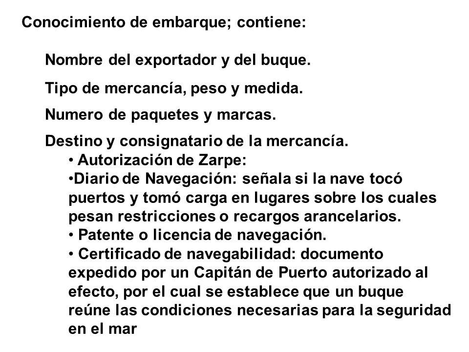 Conocimiento de embarque; contiene: