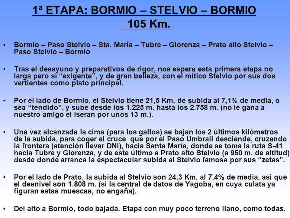 1ª ETAPA: BORMIO – STELVIO – BORMIO 105 Km.