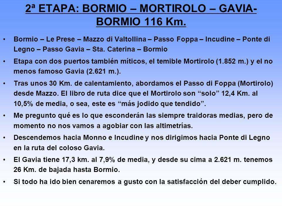 2ª ETAPA: BORMIO – MORTIROLO – GAVIA- BORMIO 116 Km.