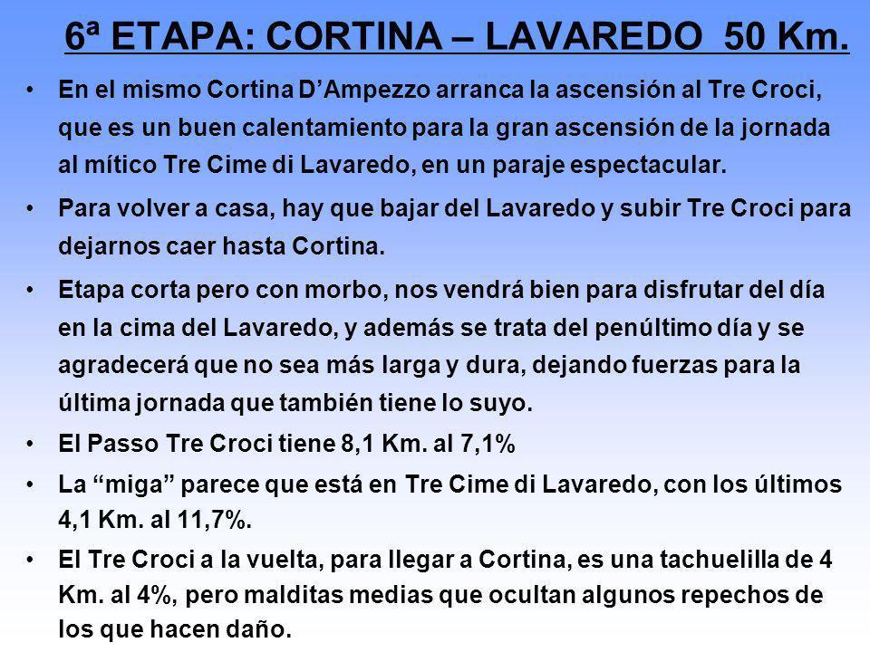 6ª ETAPA: CORTINA – LAVAREDO 50 Km.
