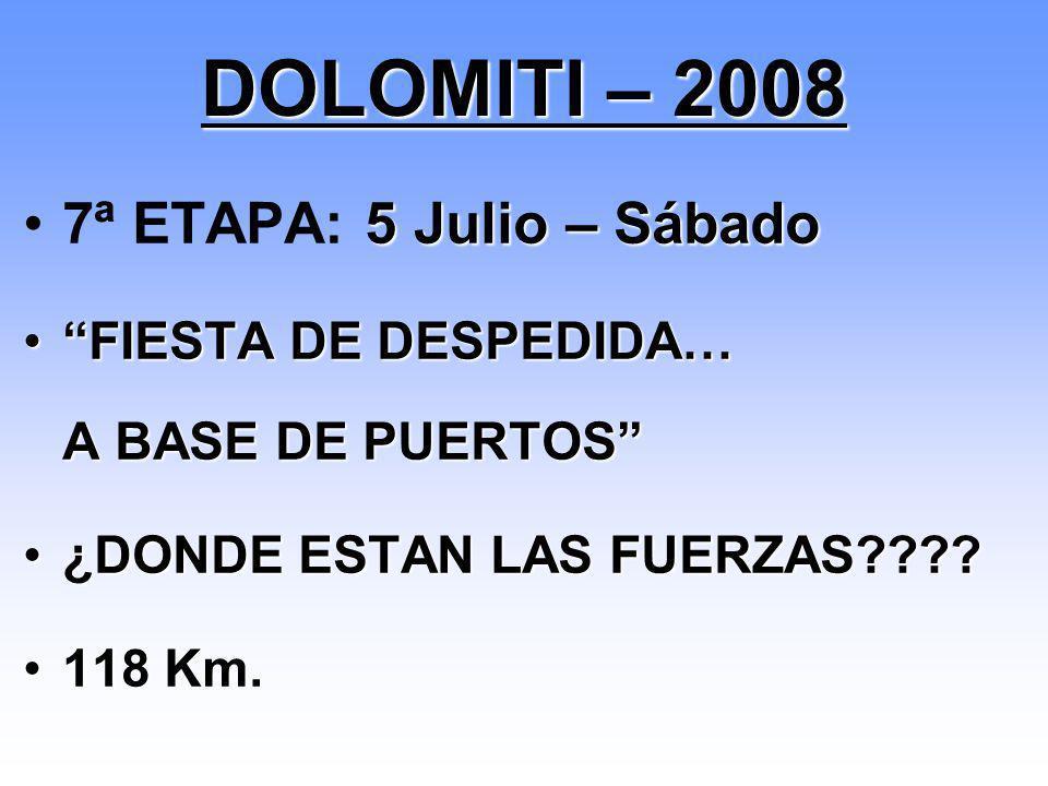 DOLOMITI – 2008 7ª ETAPA: 5 Julio – Sábado
