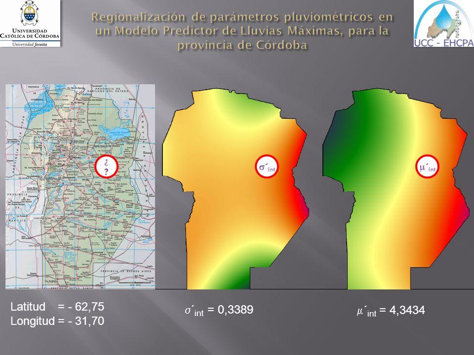 Regionalización de parámetros pluviométricos en un Modelo Predictor de Lluvias Máximas, para la provincia de Córdoba