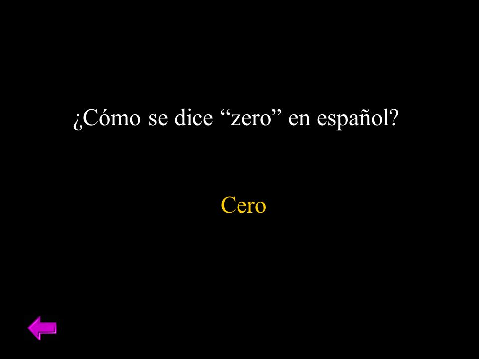 ¿Cómo se dice zero en español