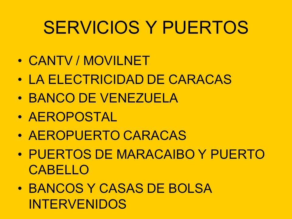 SERVICIOS Y PUERTOS CANTV / MOVILNET LA ELECTRICIDAD DE CARACAS