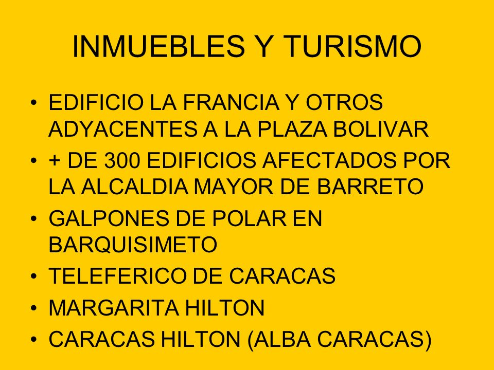 INMUEBLES Y TURISMO EDIFICIO LA FRANCIA Y OTROS ADYACENTES A LA PLAZA BOLIVAR. + DE 300 EDIFICIOS AFECTADOS POR LA ALCALDIA MAYOR DE BARRETO.