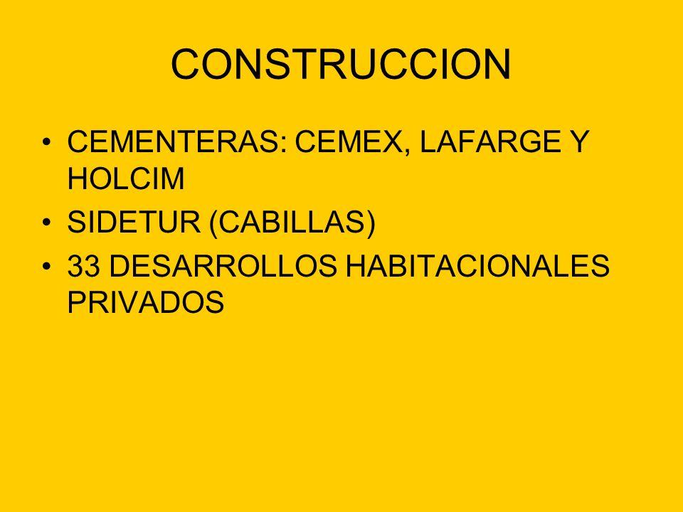 CONSTRUCCION CEMENTERAS: CEMEX, LAFARGE Y HOLCIM SIDETUR (CABILLAS)