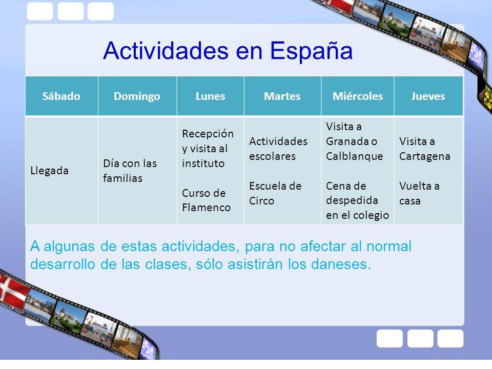 Actividades en España Sábado. Domingo. Lunes. Martes. Miércoles. Jueves. Llegada. Día con las familias.