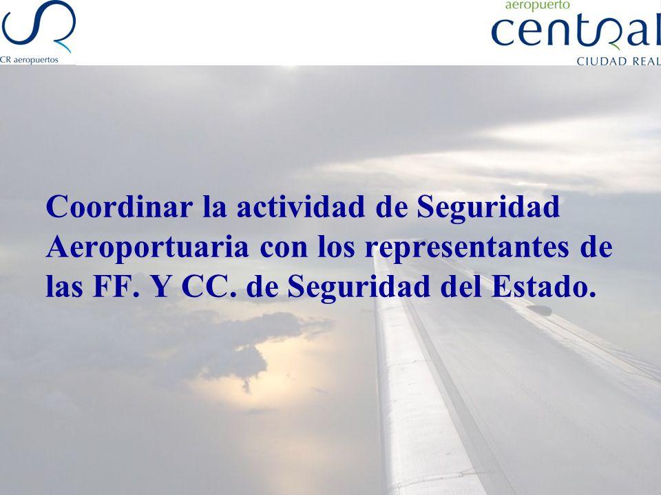 Coordinar la actividad de Seguridad Aeroportuaria con los representantes de las FF.