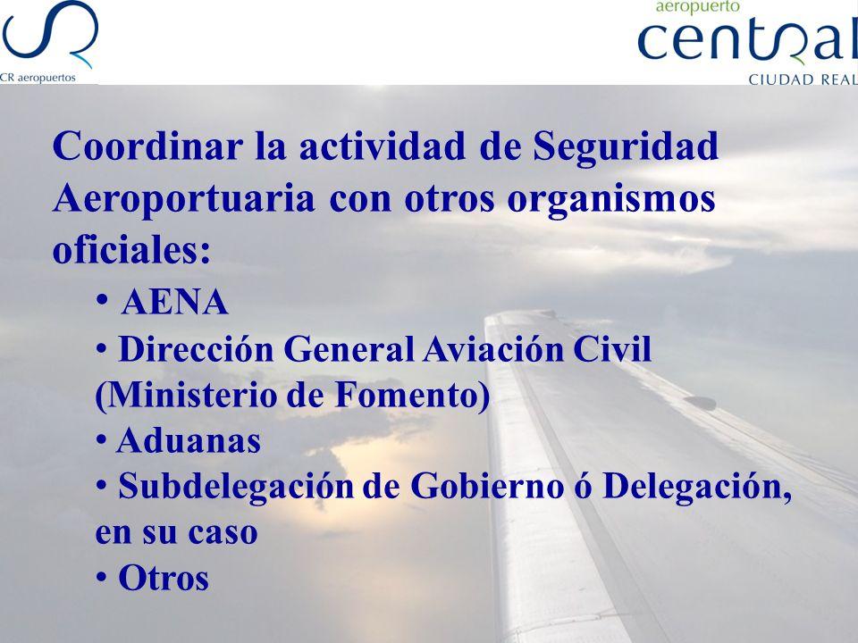 Coordinar la actividad de Seguridad Aeroportuaria con otros organismos oficiales: